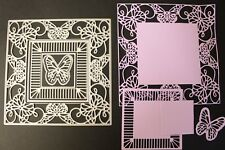 """Large Square 5"""" Butterfly Frame Multi Use set of 6 Metal Cutting Dies Brand New"""