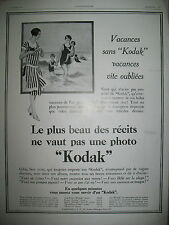 PUBLICITE DE PRESSE KODAK APPAREIL PHOTO SOUVENIRS VACANCES FRENCH AD 1928
