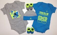 AIR JORDAN Newborn Baby BOYS 5 piece GIFT Set: Rompers, Cap & Booties 0-6Months.