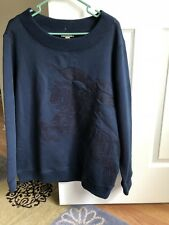 100% Authentic Burberry Blue Mens Equestrian Knight Crewneck Sweater. Size L