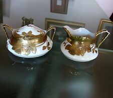 ANTIQUE c. 1890 L.S. & S. LIMOGES FRANCE GILDED ART NOUVEAU SUGAR CREAMER SIGNED