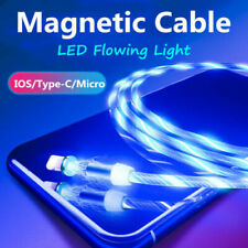 Magnetic LED Glow Charge Cable Type C/8 Pin/Micro USB Cable Wire Cord For Phone