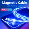 LED Magnetic Flowing Light Up Charging Charger Cable Type-C Micro USB for iPhone