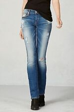 NEW TRUE RELIGION $348 CORA DESTROYED SUPER T STRAIGHT JEANS IN BLUE TIDE SZ 29