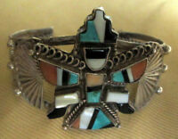 Zuni attr. Frank Vacit Knifewing Bracelet Mosaic Inlay Turquoise Fine 1930s-40s