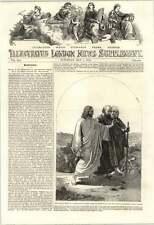 "1853 Artwork ""the Walk To Emmaus"" Painted By H Warren"