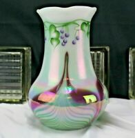 Pulled Feather Fenton Glass Leaves and Vine Vase Connoisseur Collection 1998