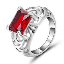 Vintage Ruby Red Wedding Promise Band Ring 10KT white Gold Filled Size 7