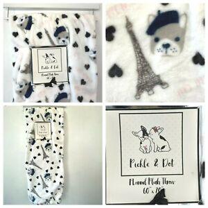 French Bulldog Throw Blanket Paris Eiffel Flannel Plush 60x70 Pickle & Dot K4