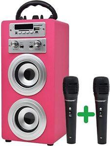 DYNASONIC - Altavoz Bluetooth Portatil Karaoke con Micrófonos E-025-ROSA