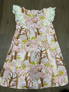 Magpie And Mabel Girls Pink Printed Dress Size 10 Worn Once