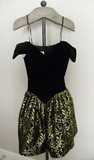 VTG 80'S JESSICA MCCLINTOCK GUNNE SAX BLACK VELVET GOLD LACE STRAPLESS DRESS~3/4