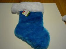 "New ! Fuzzy Plush Christmas Stockings Holiday Decorations Assorted Color 19"" L"