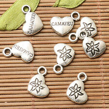 26pcs dark silver color heart shaped flower pattern lettering charms  EF2695