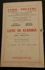 Lyric Theatre Programme: Peter Ustinov &  Brenda Bruce in LOVE IN ALBANIA