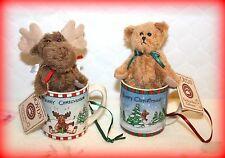*New* Boyds Bears Bearwear Pottery Works Set Of 2 Cup Ornaments & Animals 2004