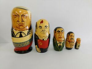 Set of 5 Presidents Russian Nesting Dolls Handmade Signed Made In Russia