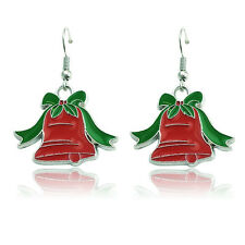 Red & Green Enamel Christmas Jingle Bell Drop Dangle Hook Earrings Xmas Gift