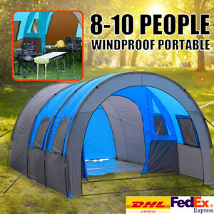 Waterproof Large Camping Tent 8-10 Person Family Tunnel Tents Column Tent Ourdoo
