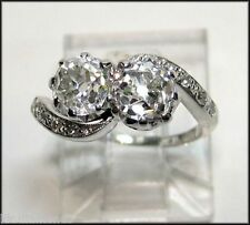 3.00 ct Off White 2 Round Cut Moissanite Ring Engagement Ring 925 Silver ring