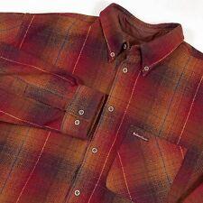 Men's VTG Marlboro Classics Red Plaid Wool Blend Button Up Long Sleeve Shirt-XL