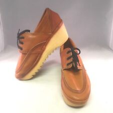 Cherokee of Cailfornia 8 Tan Lace Up Wedge Shoes Vintage