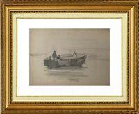 CHARLES WISLIN (1852-1932) SCENE DE PECHEURS A TREPORT EN NORMANDIE 1879 (1224)