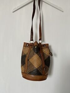 Vintage Summer Woven Staw And Leather Bucket Bag  Tan And Black