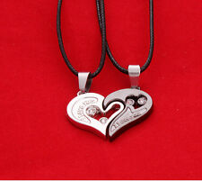 """I Love You""Half Heart Shape Pendant Couple Necklaces Set Stainless Steel Couple"