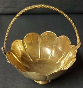 Vintage Brass Basket/Trinket Dish With Handle & Pedestal. Pre-Owned.