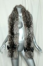GENUINE FOX FUR STOLE Dazzling Long Silver/White Tipped Wrap + BLACK SATIN BOWS