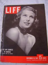 "Rare Vtg Life Magazine "" Love Goddess in America"" Rita Hayworth Nov. 10, 1947"