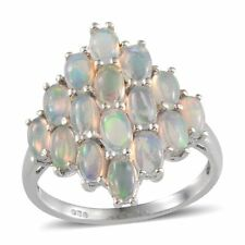 UK O,P LARGE 2.40ct ETHIOPIAN FIRE OPAL solid 925 RING Platinum/Sterling Silver