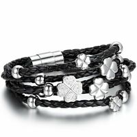 Braided Stainless Steel Layer Lucky Clover Charm Women's Leather Bangle Bracelet