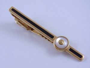 dunhill Gold Plated and White Tie Clip Clasp