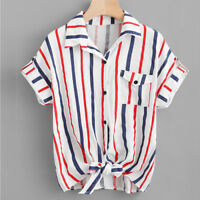 Fashion Women's Stripe Short Sleeve Turn-down Collar Shirt Casual Top Blouses