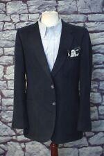 Lanvin Men's Luxury Navy Blue Feather Suede Sport Coat Blazer 42L 42 Long