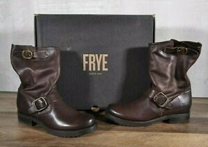 Frye Veronica Short Leather Boot Women's Size 9.5 MED Biker Dark Brown 76509 NEW