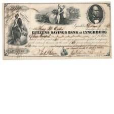 1862 Citizens Savings Bank, Lynchburg, Virginia Certificate of Deposit Civil War