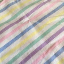 Vintage Rainbow Cotton Candy Pastel Stripes Double Flat Sheets Fabric x 2