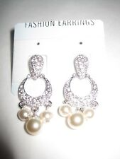 Paved Diamante and Pearl Pierced Ear Rings