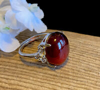 5.5g NATURAL ALMANDINE RED GARNET CRYSTAL HEALING RING  Reiki Charged  INDIA