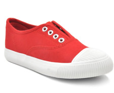 Tanggo A299 Flat Casual Shoes Sneakers Slip-On Women's Fashion Rubber Shoes(red)