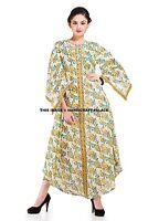 Women Loose Block Printed Pure Cotton Floral Maxi Tunic Long Dress Fashion Boho