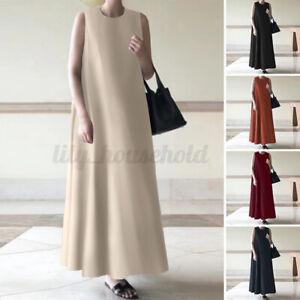 ZANZEA Damen Baumwolle Knöchelläng Trägerkleid Ärmellos Unifarben Kleid Oversize