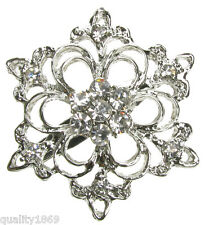 LARGE DIAMANTE SILVER BROOCH  VINTAGE PIN BRIDAL BOUQUET SHOE CAKE - NEW - UK