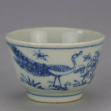 China antique blue-and-white porcelain bowl Painting of flowers and birds.