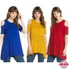 USA Women Open Cold Shoulder Long Tunic Top Dress A Line Silhouette S M L XL