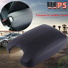 Black Hand Leather Arm Rest Cover & Base Console Lid For 08- 12 Honda Accord