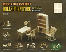 STUDY ROOM Mobili Bambole 1:12 in Legno WOOD CRAFT ASSEMBLY DOLLS FURNITURE